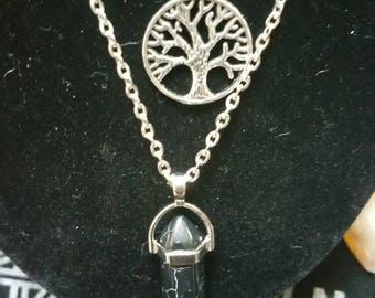 Tree of Life Necklace, Tree of Life Crystal Necklace, Black Crystal Necklace, Double Chain Necklace, Tree of Life