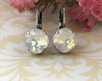 Swarovski Earrings, Swarovski 10mm Cushion Cut Earrings, Swarovski White Opal Earrings, Swarovski White Crystal Earring, Wedding Earring