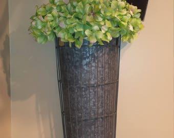 Vintage Galvanized Caged Flower Bucket