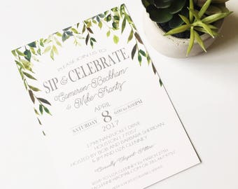 "Sip and Celebrate | Ethereal | Wedding Shower | Baby Shower | Invitation | 5""x7"" 