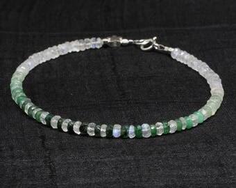 Emerald bracelet; Rainbow moonstone bracelet; Beaded bracelet; Gemstone bracelet; Emerald; Rainbow Moonstone; Green bracelet; May birthstone