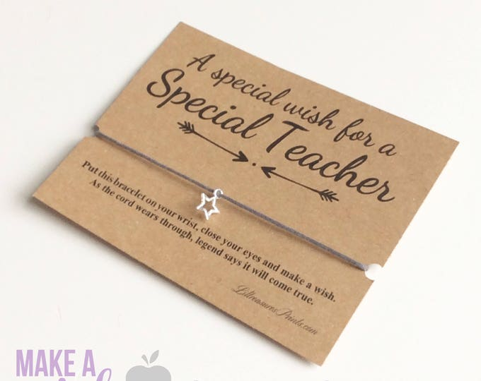 A special wish for a special teacher wish bracelet | Teachers gift | Friendship Bracelet | Wish band | Christmas Gift | Charm Bracelet