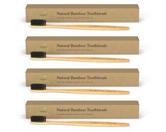 Clearly BAMBOO Soft Toothbrush (Set of 4), Charcoal Infused Bristles