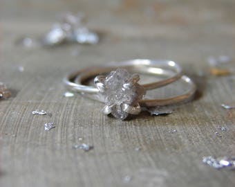 Uncut Raw Diamond Ring, Affordable Engagement Band, Bridal Ring Set, Nuptial Trends, April Birthstone Jewelry, Marquise Diamond Ring