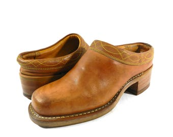 Vintage Women's FRYE Cognac Brown Leather Slip-On Mules Shoes Sz 7.5 M