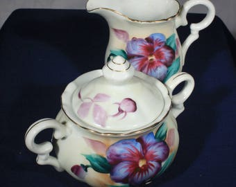 Sterling China Japan, Fine Porcelain, Cream and Sugar, Purple Blue, Flowers, Tableware, Tea Time