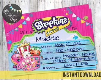 Instant Download - Shopkin's Birthday Party Invitation DIY Print at Home for your childs Shopkin themed party invites