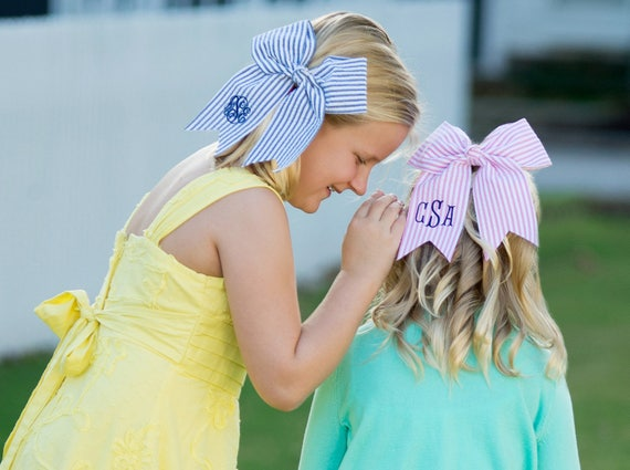 SALE - Monogrammed Seersucker Hair Bows