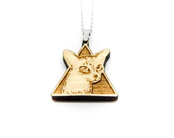 Necklace wooden cat Geometric triangle charm