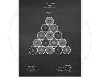 Pool Billiards decor art print #1 Billiard Game Balls design patented in 1897 with chalkboard background