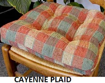 CAYENNE PLAID CHAIRPADS.  Set of 4