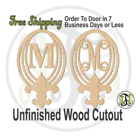Beads and Fleur de Lis with Initial in CSCBTB or VINE BOLD, 990029M1, Monogram, laser cut wood cut out, Wedding, wooden, Door Hanger