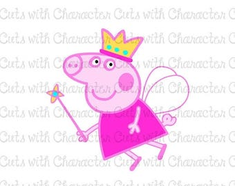 ON SALE Peppa Pig Fairy Layered SVG, Dxf and Png Files for Cutting Machines Silhouette, Cricut or Scan 'N' Cut