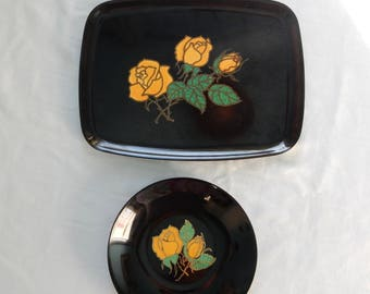 SALE Couroc Tray and Bowl Set- Couroc of Monterey Yellow Rose Bowl and Tray - Inlaid Brass and Stone Tray and Bowl - Midcnetury Modern Decor