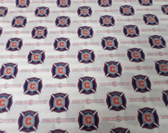 Chicago Fire soccer team MSL  100 cotton fabric that is sold by the Yard White Multi 100% Cotton 60 inches wide