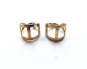 Vintage Gold Large Modernist Hoops, Clip On Earrings