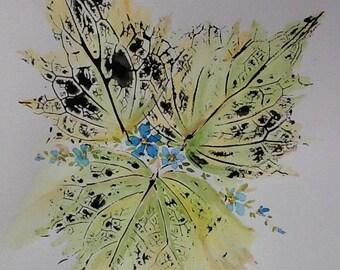 Leaf painting, Watercolour painting, Autumn leaves, Autumn colour, original painting, home decor, beautiful art, collectors items