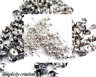 Studs + silver buttons set of 5 pairs