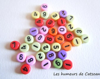 Numbers 0-9 multicolored 7mm beads