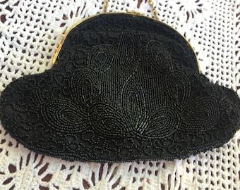 VTG Black Beaded Purse