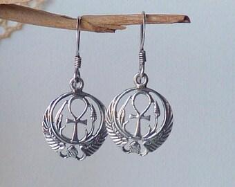 Sterling Silver Ankh Earrings Vintage Egyptian Symbol of Life, Key of Life, Egyptian Cross Religious Symbol of Life 925 Pierced Earrings