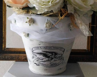 Pot Shabby chic floral pink and white