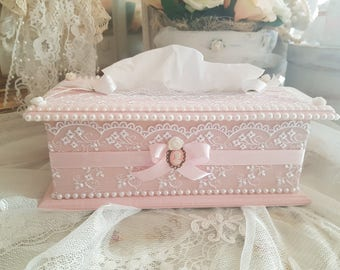 Pink shabby chic tissue box and white French lace