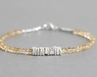 Citrine Bracelet With Hill Tribe Silver November Birthstone Gemstone Bracelet Beaded Bracelet Stacking Bracelet