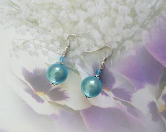 Blue miracle and Pearl Blue Crystal beads earrings
