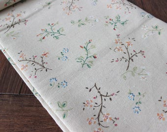 Village Floral Linen Fabric Beige Fabric with Flowers and Twigs for Home Decor ,Sewing ,DIY Etc by 1/2 yard