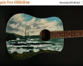 ON SALE Atlantic Blues by Rod Coyne painted on an old acoustic guitar