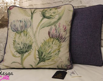 Harris Tweed Wool Voyage Thistle Glen Linen Cushion Pillow Cover Piped Blue Purple 40x40cm