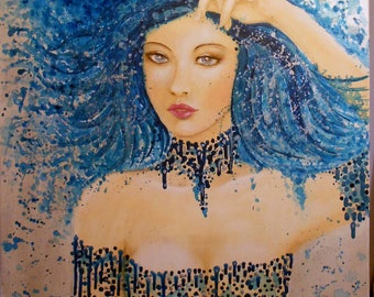 picture lady woman portrait, acrylic on canvas, blue, silver blue