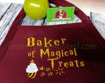 "Harry Potter inspired baker of magic treats quote, snitch, patronus!  24""L x 28""W professional 3 pocket bib apron 23 color options"