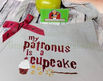 "Harry Potter my patronus cupcake magic quote apron 24""L x 28""W professional 3 pocket full bib apron. 22 apron color options."