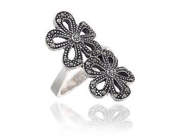 Double Daisy Marcasite Beaded Ring