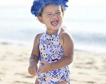 Purple Floral Print Bow Back Baby Romper