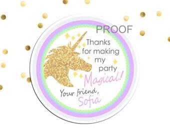 Unicorn Thank You Tag, Unicorn Party Favor Sticker, Unicorn Birthday Favor Tag, Magical Birthday Favor Sticker, Half Birthday, Gold Unicorn