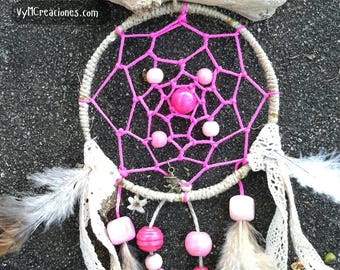 Pink dream catcher, infantile decoration, Dreamcatcher wood, boho chic, driftwood dream catcher