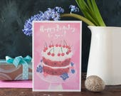 Birthday cake card, pink card, for her, for a best friend, cake lover's greeting card, personalised, cherries, happy birthday to you,