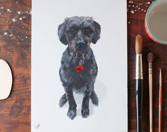 Portrait of my dog,pet painting, painting of our cat, dog portrait, A4,hand painted portrait, artist Gabriella Buckingham, for Inkpaintpaper
