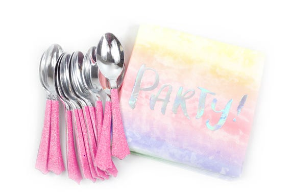 10pc Foiled Silver Hologram and Pink Ombre Party Script Luncheon Napkin, Pink Birthday Napkin, Tie die  Party Napkin Watercolor Napkin