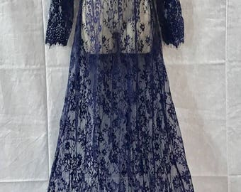 Womens Dark Blue Long Length Floral See Through Lace Vacation Cruise Dress OR Maternity Lingerie Pregnant Belly Photography Picture Pregnant