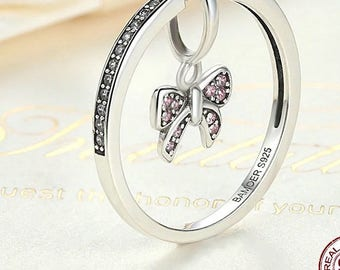 Sterling silver Pandora style pendant ring jewerly gift for her butterfly pendant ring
