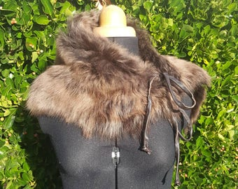 lovely toscana lambskin shearling shrug scarf stole wrap brown fur suede leather warm winter ski unique