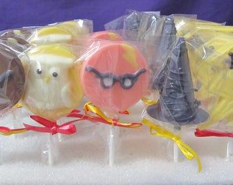 Harry Potter Wizard Hat Glasses Owl 12 chocolate lollipops