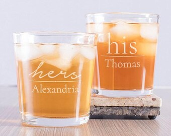 His And Hers Personalized Rocks Glass Set, Couple's Rocks Glasses, Couple's Glass Set, Engraved Couple's Glasses