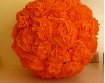 Crepe paper flower ball orange decorations