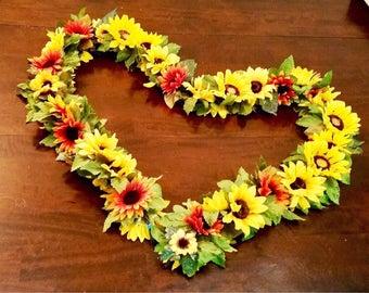 Sunflower Garland - 7.5 ft Sunflower Wedding Arch Decor (Orange & Yellow)
