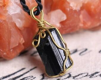 Raw Black Tourmaline Pendant,Healing Crystal Pendant ,Black Tourmaline pendants ,Black Tourmaline necklace healing + Free Jewel Case J815